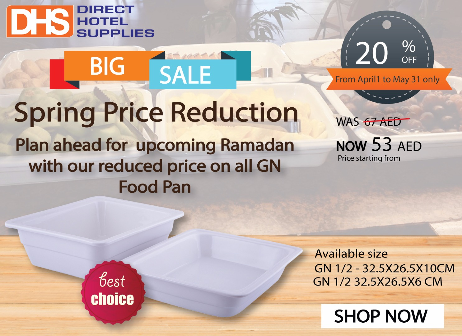 DHS Spring Price Reduction on all GN Food Pans